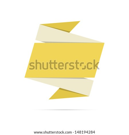 The blank origami style label ready for your text / The yellow origami retro style label / The origami label - stock vector