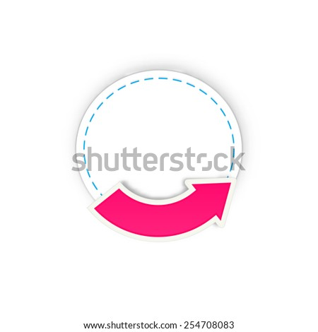 the blank white label with pink blank arrow / the badge with arrow / the circle and arrow
