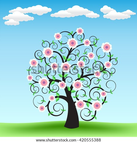 The blooming cartoon tree on the background of green grass and blue sky with clouds - stock vector
