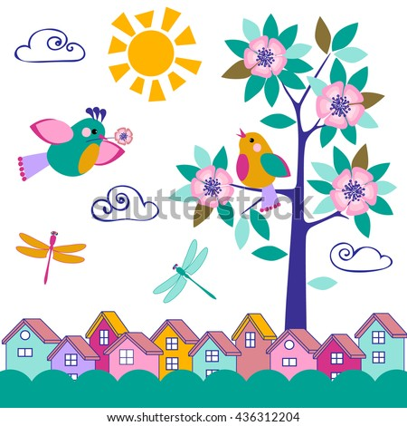 The blossoming tree with the bird sitting on a branch. A bird with a flower. Color lodges. Bright color cheerful picture. A vector illustration for a background or a card. - stock vector