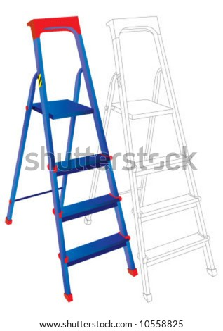 The blue aliminum ladder with three steps - stock vector