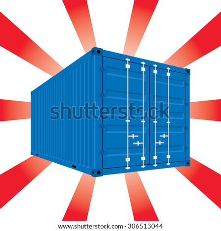 The Blue color Container On a white color and a sparkling red background. In vector style. - stock vector