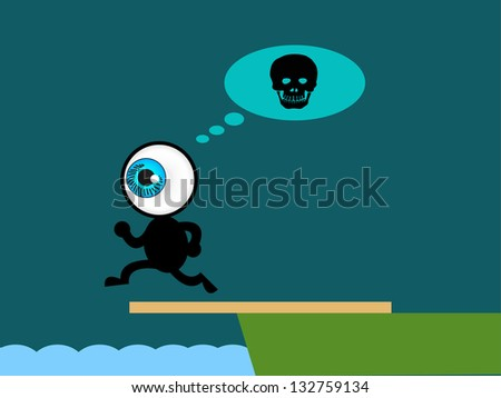 The blue eye suicide jump to sea - stock vector