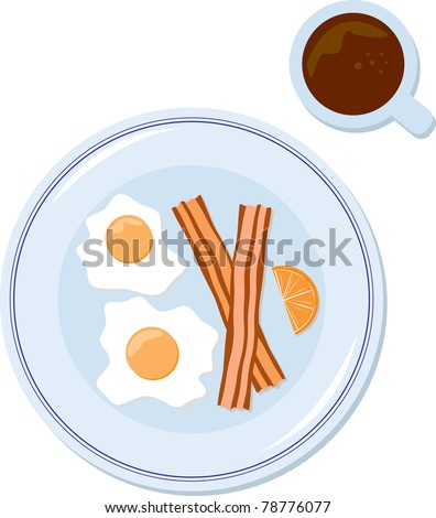 The blue plate special. Vector illustration of a classic bacon & egg breakfast at a retro diner.