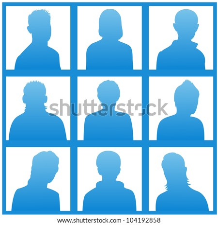 The blue silhouettes of a people for avatar on white background - stock vector