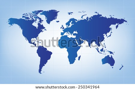 the blue world map vector background - stock vector