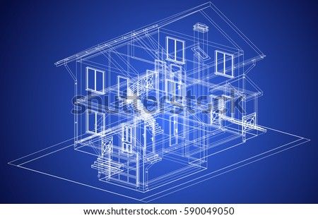 Lovely The Blueprint Of Architectural Design Of Half Timbered Residential House  With The Terrace. Vector