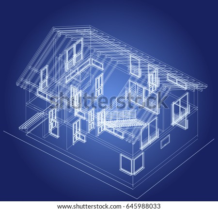 architectural design blueprint. The Blueprint Of Architectural Design Half-timbered Residential House With Terrace. Vector
