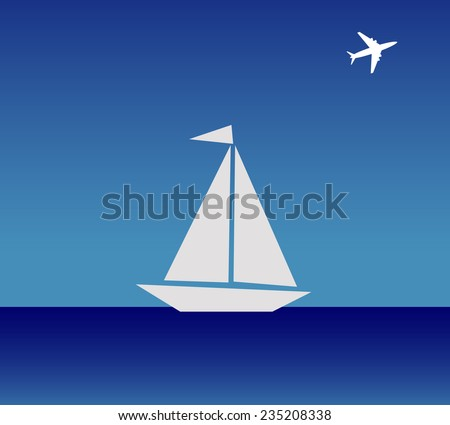 The boat and airplane - stock vector