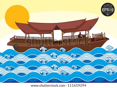 The Boat in tradition art of thailand, Vector - stock vector