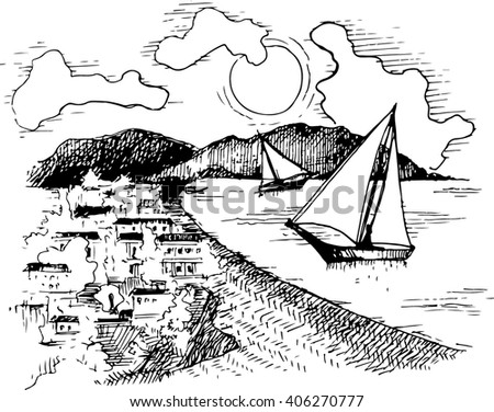 The boat on the waves near the shore. Yacht illustration. Beach view. Black and white landscape. Vector illustration