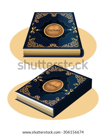 The book with a blue cover of the Quran in different perspective views - stock vector