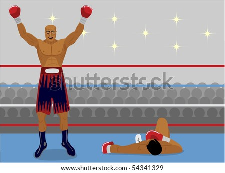 The boxer has won a fight by KO - stock vector
