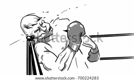 The boxer is falling on the prop of the boxing ring and strikes his head, black and white vector sketch, simple drawing