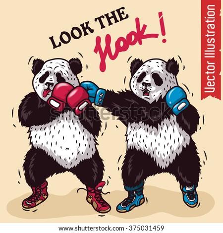 boxing two pandas vector illustration stock vector royalty free