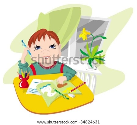 The boy doing(making) lessons - stock vector
