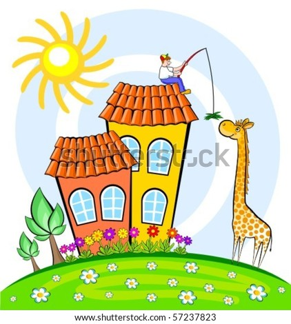 The boy has climbed on a roof of the house to feed a tall giraffe. The vector image.