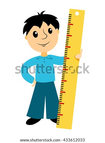 boy holds ruler clip art business stock vector 433612033 shutterstock rh shutterstock com free clipart ruler clip art ruler with inches