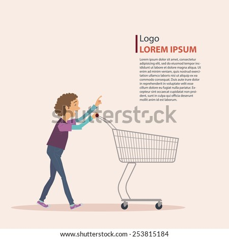 The boy in casual wear with shopping cart, art work, vector illustration. - stock vector