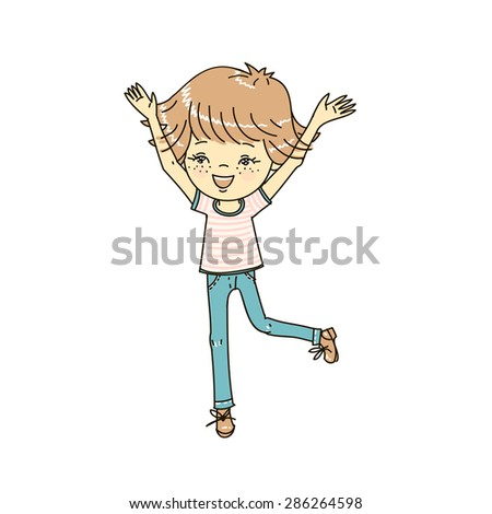 The boy is happy and jumps. Vector illustration. - stock vector