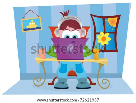 The boy is working on his laptop - stock vector