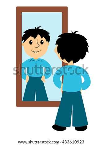boy looks mirror clip art business stock vector hd royalty free rh shutterstock com mirror clipart png mirror clipart png