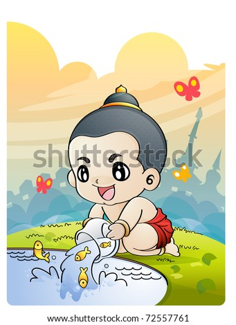 The boy releasing fish from small cage, Thai culture, Releasing  birds at Songkran - stock vector