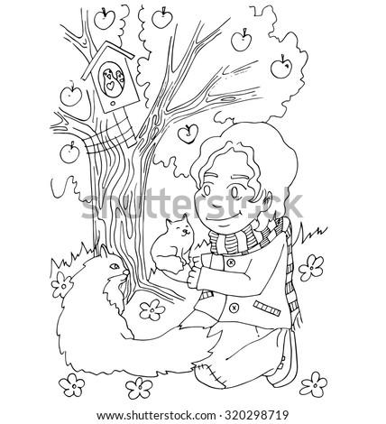 Boy Take Care Animals Cartoon Coloring Stock Vector ...