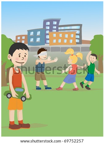 The boy wants to play with other children, but shy - stock vector