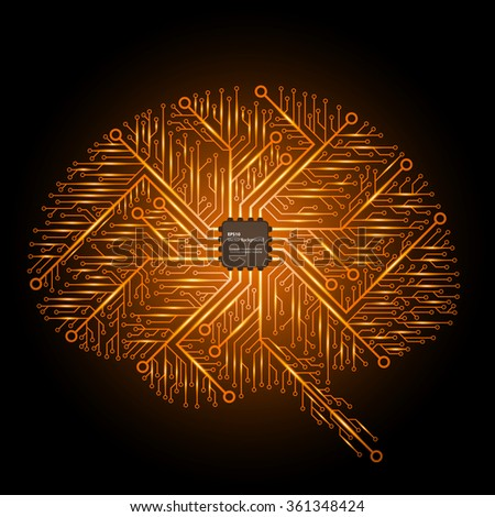The brain in an electronic circuit with an electronic chip. Vector background. - stock vector