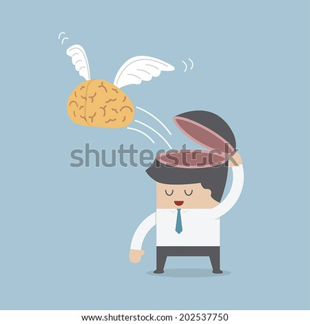 The brain is flying out of the businessman's head, Idea and Freedom concept, VECTOR, EPS10 - stock vector
