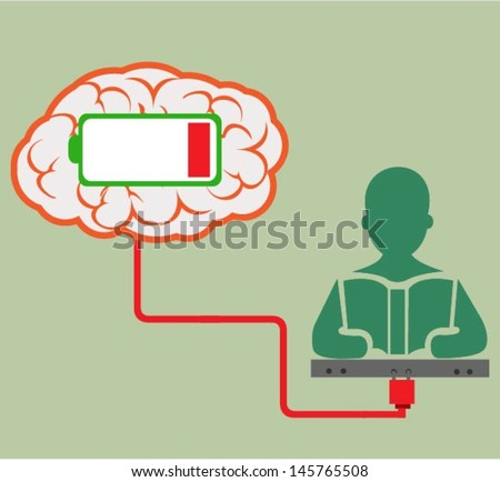 The brain with low battery symbol. - stock vector