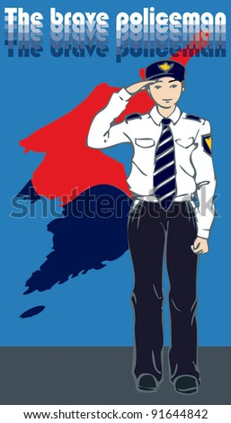 The Brave Policeman with hand salute - The Korean Map of a yin yang symbol - stock vector