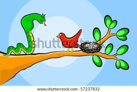 The brave red bird protects the nest. A vector illustration. - stock vector