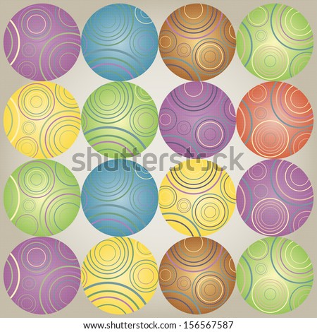The bright background with colorful spheres