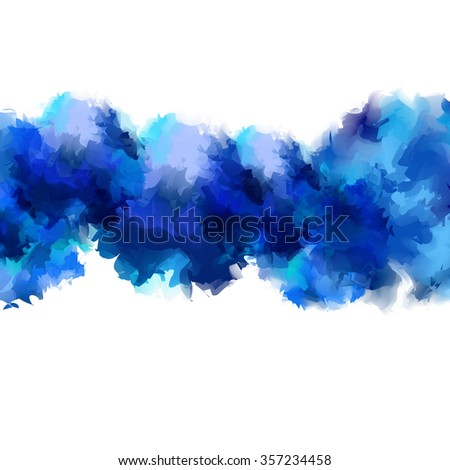 The bright blue color of the sea flow of watercolor stains isolated on a white background.