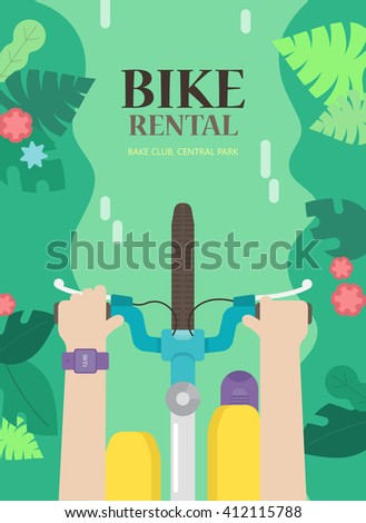 The bright concept the flyers for bike rental. Vector background with bicycle and man in the urban environment, top view. Summer poster for hire bike tours for tourists and city visitors. - stock vector