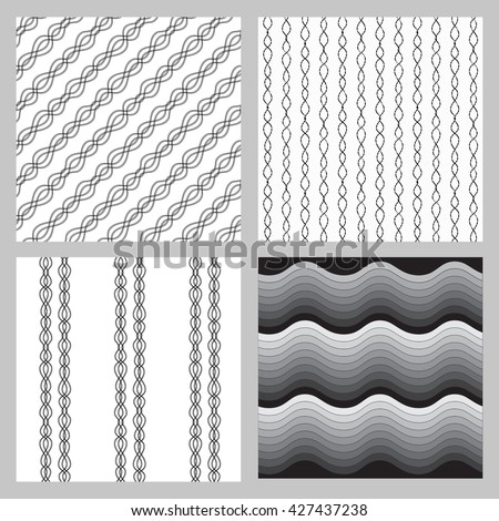 The bright vertical stripes on a white background. Black and white seamless pattern. Set of 4 seamless pattern in black and white monochrome colors - stock vector