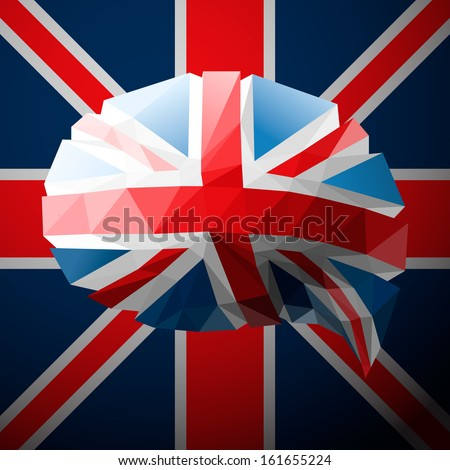 The British flag in the form of a speech bubble, vector image.