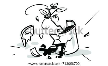Broken flower pot black white sketch stock vector royalty free the broken flower pot black and white sketch drawing graphic vector mightylinksfo