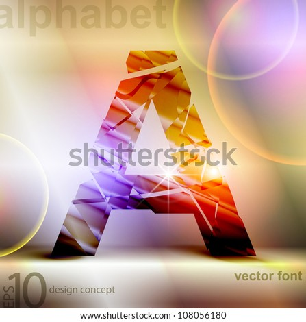 the broken glass font letter a - stock vector