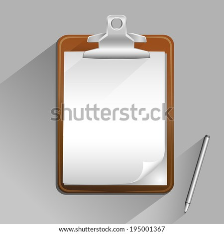 The brown clipboard with pen and top view shadow on the gray background