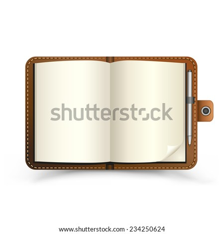 The brown open notebook with pen and top view shadow on the white background - stock vector