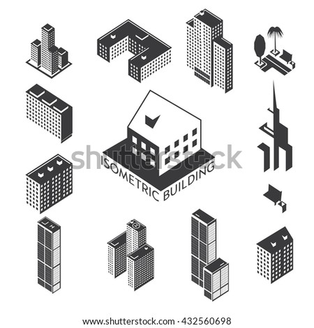 The building is a simple illustration of the icons of urban architecture. Simple set of icons of business buildings and office space. Housing for the web graphics, rent and presentations.