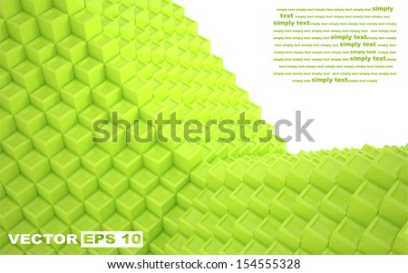 The bulk composition of the green vector streamlined cubes. Edit and insert your text. - stock vector