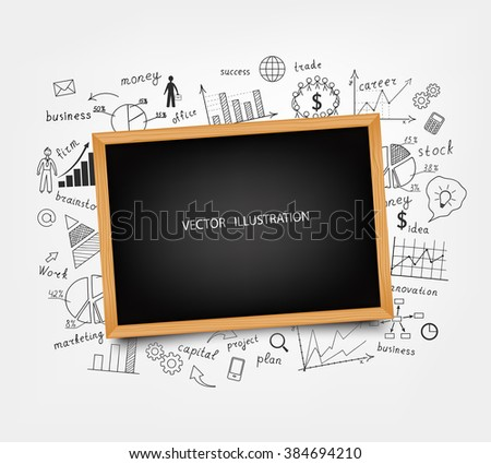 The business concept. Hand-drawn diagrams and graphs on the Board. Background. Doodle. Vector illustration modern design template. - stock vector