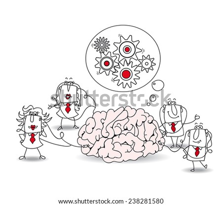 The business team and the brain. Metaphor of collective conscience or a metaphor of a brainstorming. A team is connected at a brain - stock vector