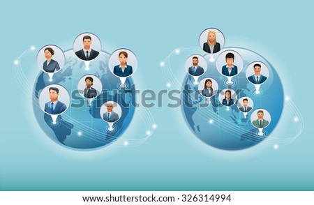 The Business world.The business communications of the world.Character design. Illustration for idea of business.Approach to communication for business. Graphic design and vector EPS 10. - stock vector