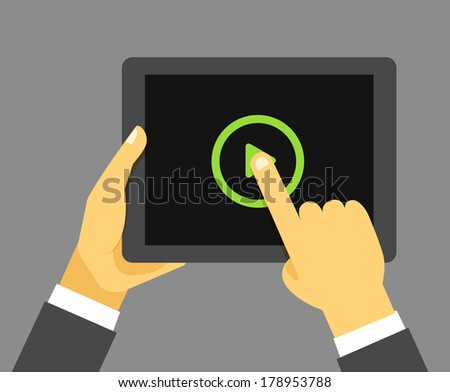 The businessman holding modern digital tablet device - stock vector