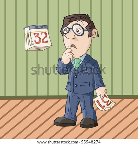 The businessman is looking at the error in the calendar - stock vector
